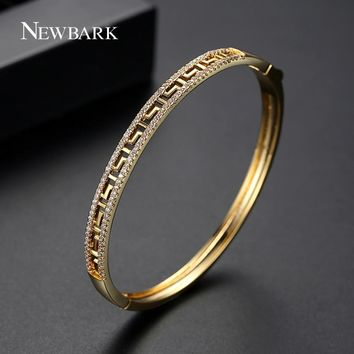 NEWBARK Time Legend Fashion Round Bracelet Copper AAA Cubic Zircon Luxury Designed Gold Silver CZ Bracelet Bangle For Women