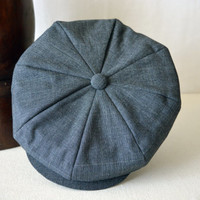 Dark Gray Cotton Newsboy Cap - Pure Cotton Handmade Bakerboy / Apple / Newsboy / Flat Cap - Men Women