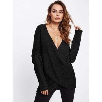 Plus Size Black Drop Shoulder Crossover Sweater