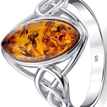 925 Sterling Silver Baltic Amber Celtic Design Ring with Cognac Color Marquise Shape Center