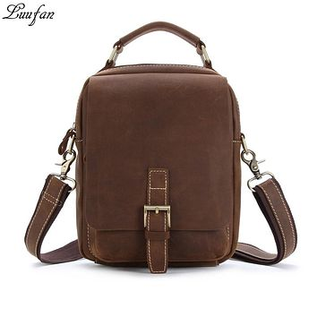 High quality Crazy horse leather men shoulder bags real leather solid ipad handbag unisex small travel bag men tote work bags