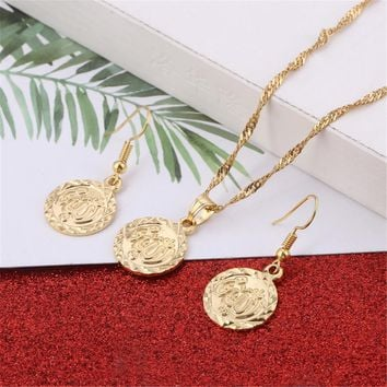 Hot Gold Color Jewelry Sets Necklace Pendant Earrings For Women Ethnic Islamic Religion Muslim Allah Coin Set