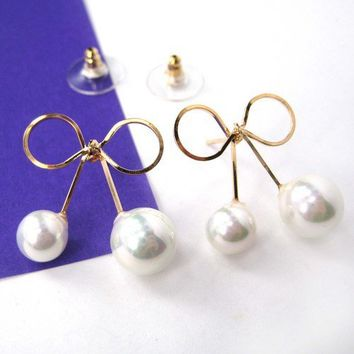 Fancy Bow Tie Ribbon Knot Simple Stud Earrings with Pearls on Gold