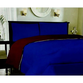 Down Alternative Reversible Comforter Navy/ Burgundy in Queen