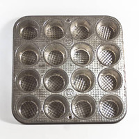 Vintage Ekco Muffin Tin Cupcake Baking Pan, 1950s Rustic Kitchen Decor Baking Supply, Unusual 16 cup, Chicago