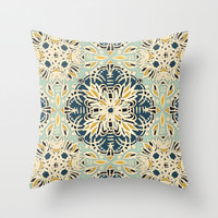 Protea Pattern in Deep Teal, Cream, Sage Green & Yellow Ochre Throw Pillow by Micklyn