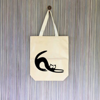 Cat Meow Kitten Canvas Tote Bag - Grocery Bag - Beach Bag - Book Bag