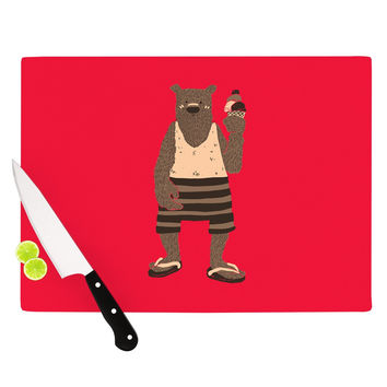 """Tobe Fonseca """"Vacation"""" Red Brown Cutting Board"""