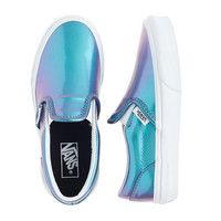 crewcuts Girls Vans Classic Slip-On Sneakers In Blue Patent Leather