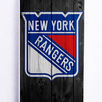 Ny Rangers Logo On Wood for Iphone 5C Hard Cover Plastic
