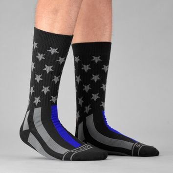 Tactical Thin Blue Line USA Flag Crew Socks