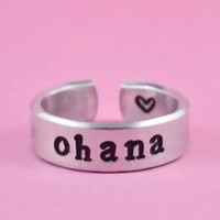 Ohana Means Family Disney Lilo And Stitch Inspired Adjustable Ring Handmade SHIPS FROM USA