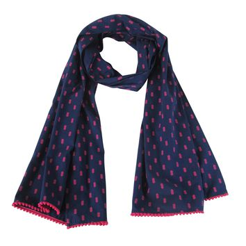 Pink Pineapple Collection; Navy & Pink Fun Long Scarf