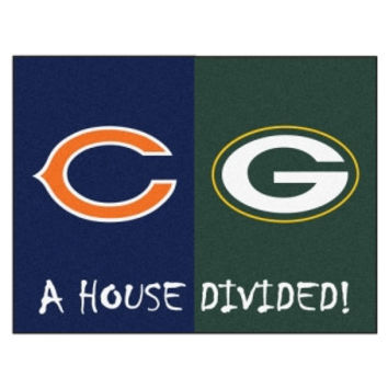 Chicago Bears / Green Bay Packers House Divided NFL All-Star Floor Mat (34x45)