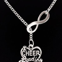Infinity I Love Cheerleading Heart Cheerleader Gift Lariat Style Necklace