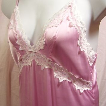 Silk Nightgown, Liquid Satin, Pink, Sexy Night Gown  Long,, Bridal Honeymoon, Resort Cruise Wear Size M Medium,  No Label See Measurements