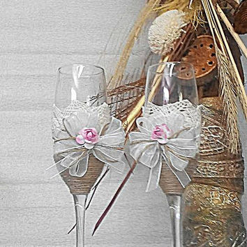Champagne glasses and paddle cake. Handmade. Wedding Champagne Glasses