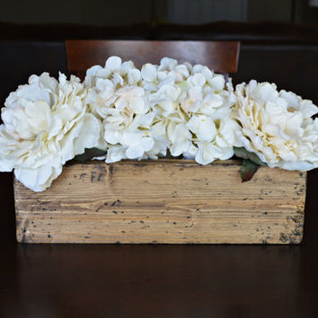 Wood Box, Wood Planter, Vintage Wedding Centerpiece, Wood Planter Box, Rustic Home Decor, Table Centerpiece, Wood Container, and Wood Crate