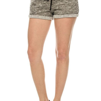 Trendy Slub Knit Drawstring Jogger Shorts
