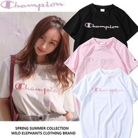 Champion Women Fashion Embroidery Letters Top Shirt T-shirt