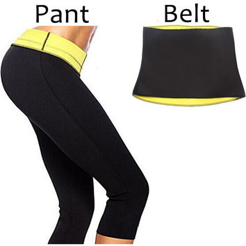 ( Pant + Belt ) Hot Shaper Body Shapers waist trainer  Slimming Panties Pants & Belts Super Stretch Neoprene Breeches For Women