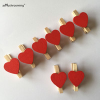 Natural Wooden Mini Clothespins with Red Hearts Chic Style Valentine's Day Decor