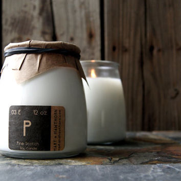 Natural Soy Candle in Glass Apothecary Jar: 12 Ounces Essential Oil Scented & Unscented
