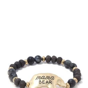Mama Bear Beaded Stretch Bracelet ()
