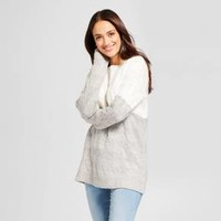 Women's Colorblock Cable Pullover - A New Day™ Cream