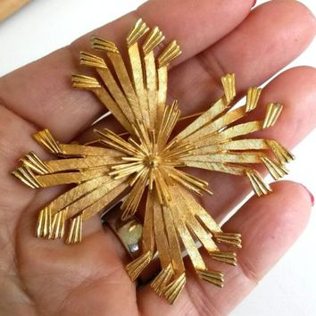 "Vintage Corocraft Starburst Cross Textured Gold Tone Pin Big 2.5"" Brooch 1960s"