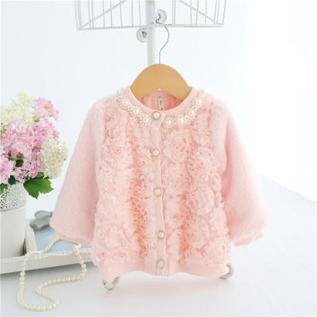 Baby Girls Faux Fur Cardigan Pink 3D Rose Front With Pearl Collar & Button Baby Girl Princess Sweater A014 Winter Warm Clothes