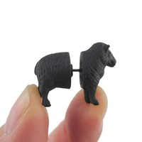 3D Black Sheep Shaped Two Part Front Back Stud Earrings