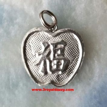 Luck And Longevity Chinese Wishes.925 Sterling Silver Pendant
