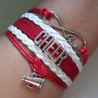 Cheer bracelet, Cheerleader gifts, cheerleading jewelry, Team gifts, Team sports, Red/white color, friendship gift