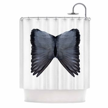Wings - Black White Animals Digital Shower Curtain