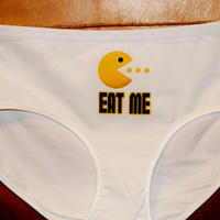 Womens Pacman Panties. Retro Gamer Girl Design. Customize By Size and Style.