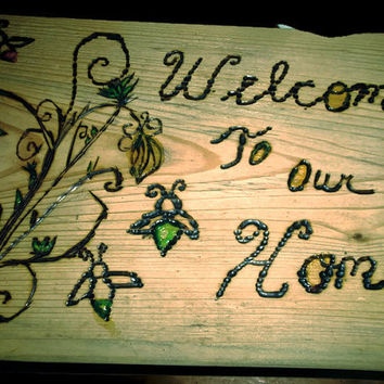 Rustic Wood Burned Welcome to Our Home Door Stop With Lightning Bugs and Flowers Glow In The Dark Paint Handmade Home Decor