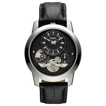 Fossil ME1113 Men's Grant Twist Black Skeleton Dial Black Croco Leather Strap Chronograph Watch
