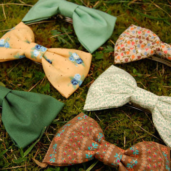 In The Garden Hair Bow -  Floral Vintage 6 Options - Green Yellow Spring Fabric Hair Bow Tie Clip - French Barrette Large Bow