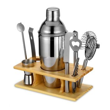 550/750ML Cocktail Shaker Set Maker Mixer Bartender Kit with Wooden Base