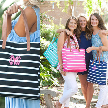 Personalized Striped Tote ~ FREE Personalization ~ Monogrammed Stripe Tote ~ Personalized Carry On ~ Monogrammed Tote ~ quick shipping