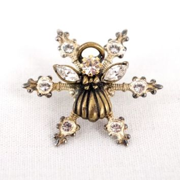 Rhinestone Angel Snowflake Lapel Pin Brooch 1.25 inches Vintage
