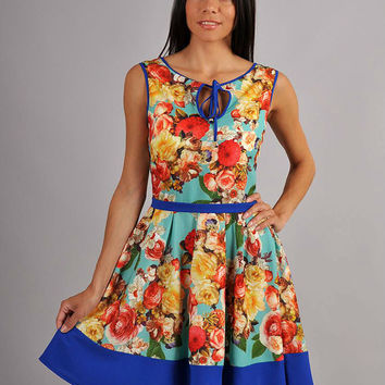 Bright Dress Summer, sundress Flower print,Aqua Blue Dress Peony ,Flower Summer, Tea Party,Women's Clothing,Summer Collection.