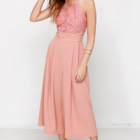 Keep Your Culottes Lace Blush Pink Midi Jumpsuit