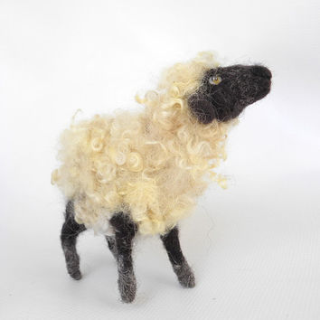Mister Lamb wool toy sculpture needlefelted sheep, New Year 2015 Symbol, Chinese New Year