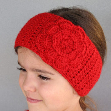 Girls Crocheted Ear Warmer Head Wrap with Flower