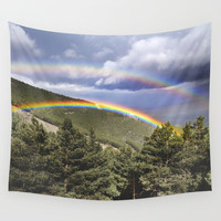 Two rainbows. Retro forest Wall Tapestry by Guido Montañés
