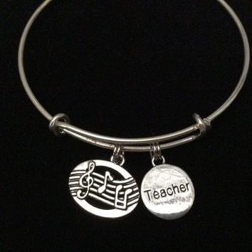 Music Teacher Charm on Silver Expandable Adjustable Wire Bangle Bracelet Stacking Handmade Trendy Gift