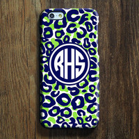 Blue Green Leopard Monogram iPhone 6 Case iPhone 6 plus Case Custom Initials iPhone 5S Case iPhone 5C Case Animal Galaxy S6 Edge S5 Case 115