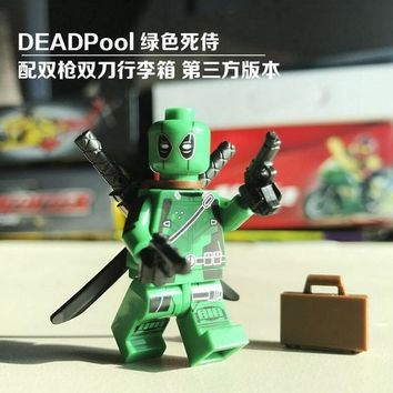 Single Sale Super Heroes Custom MOC Green Deadpool With Weapons Suitcase X-Man Figures Building Blocks Children Gift Toys 0259